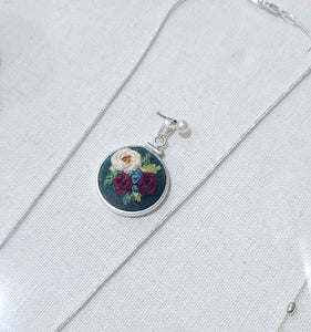 White Peony with Maroon Roses Hand Embroidered Sterling Silver Necklace