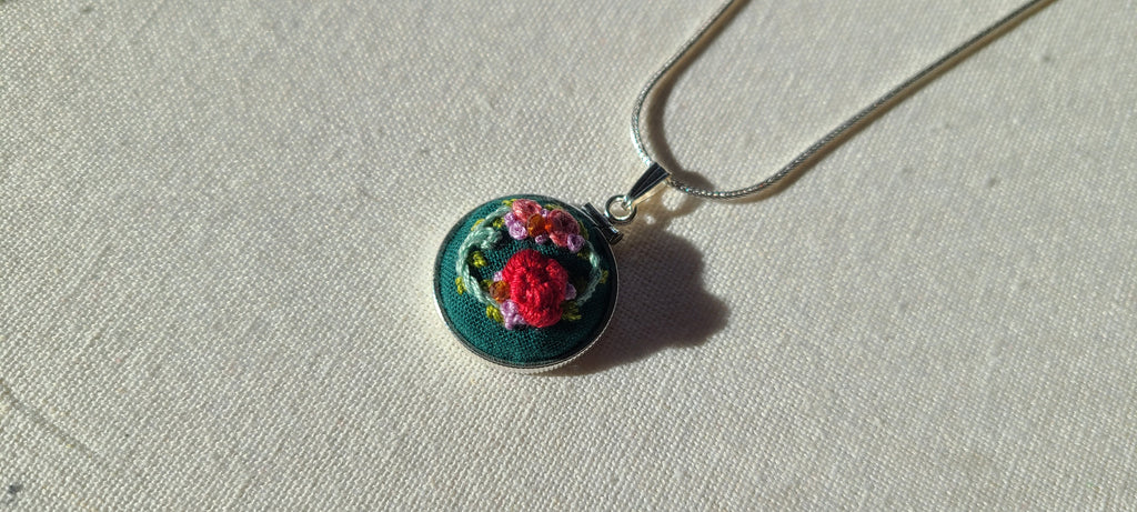Red and Pink Roses with Orange Garnets Hand Embroidered Sterling Silver Necklace