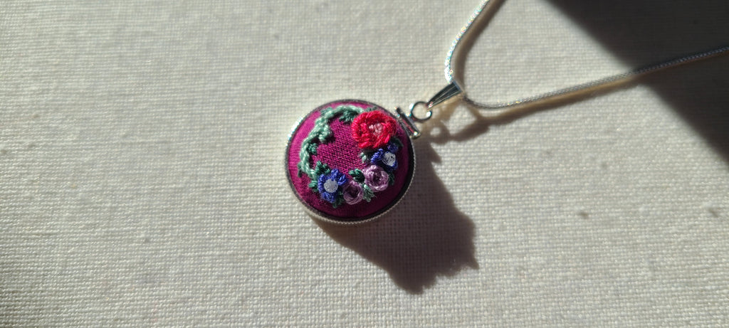 Red and Purple Roses with Violet Poppies and White Zircon Gemstones Hand Embroidered Sterling Silver Necklace