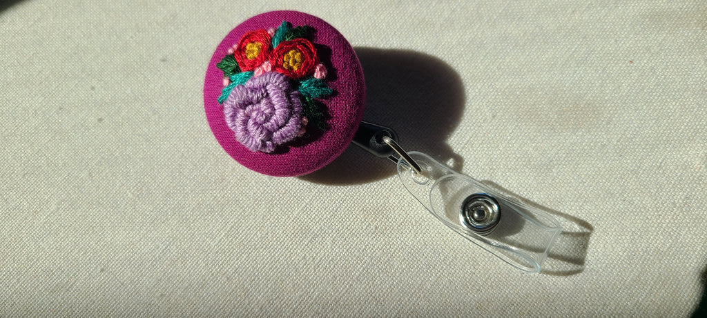 Lavender and Red Roses on Magenta Hand Embroidered Retractable Badge Reel
