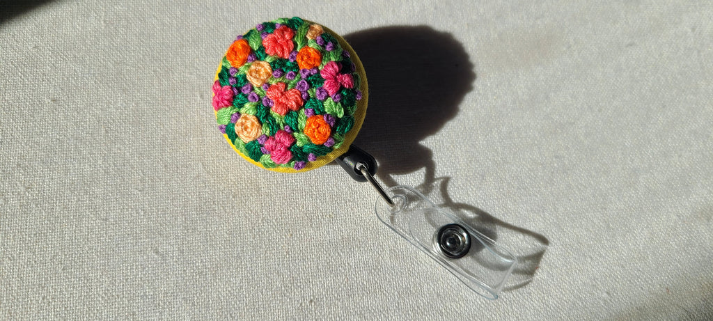 Hot Pink and Orange Garden Patch Hand Embroidered Retractable Badge Reel