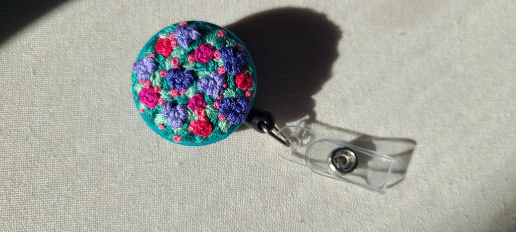 Violet and Fuschia Garden Patch Hand Embroidered Retractable Badge Reel