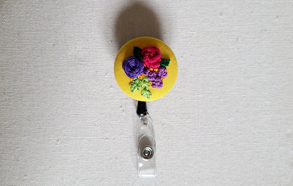 Hot Pink and Purple Floral Bouquet Hand Embroidered Retractable Badge Reel