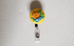 Orange Carnation and Light Blue Poppies Hand Embroidered Retractable Badge Reel