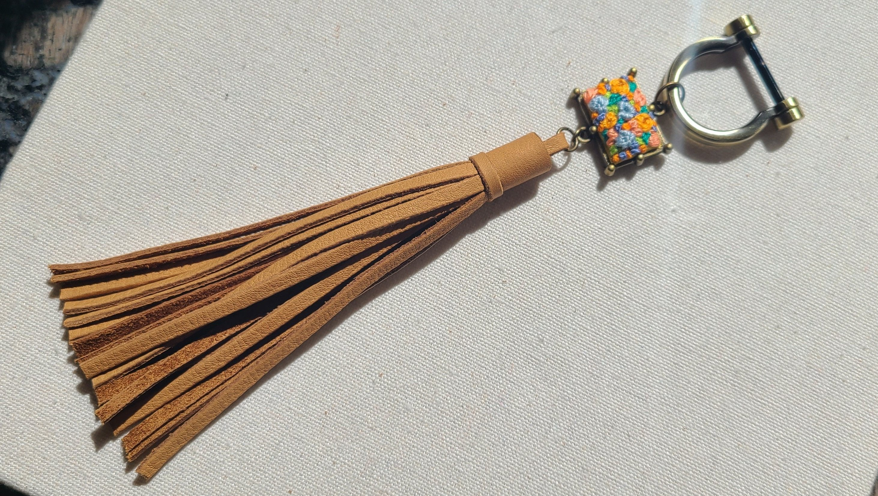 Blue and Orange Flower Patch Leather Tassel Keyring Purse Charm