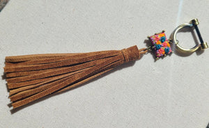 Hot Pink and Ceylon Blue Flower Patch Suede Tassel Keyring Purse Charm