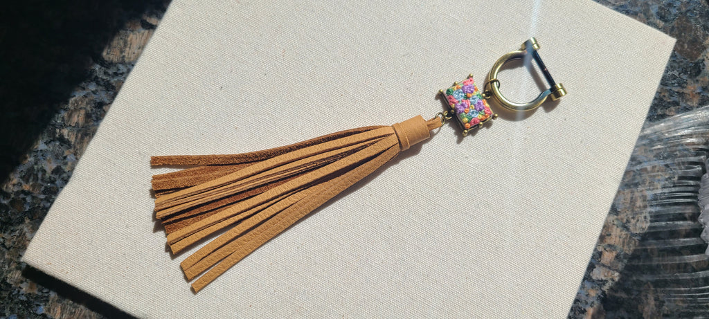 Lavender and Pastel Blue Flower Patch Leather Tassel Keyring Purse Charm