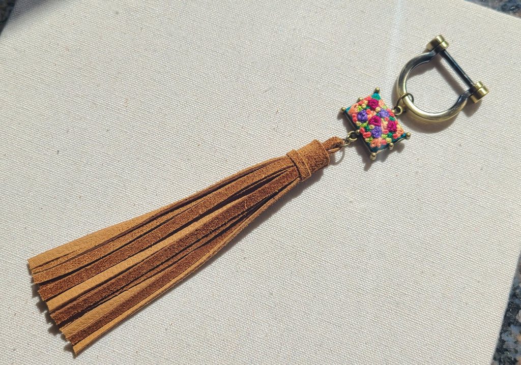 Magenta and Purple Flower Patch Suede Tassel Keyring Purse Charm