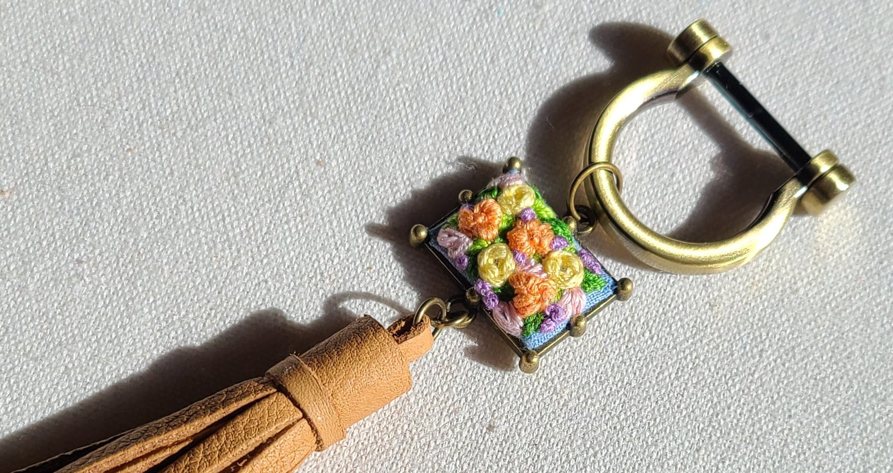 Lemon Yellow and Orange Flower Patch Leather Tassel Keyring Purse Charm