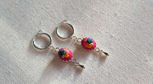 Ceylon Blue Poppies and Hot Pink Lilies with Dangle Hoop Earrings