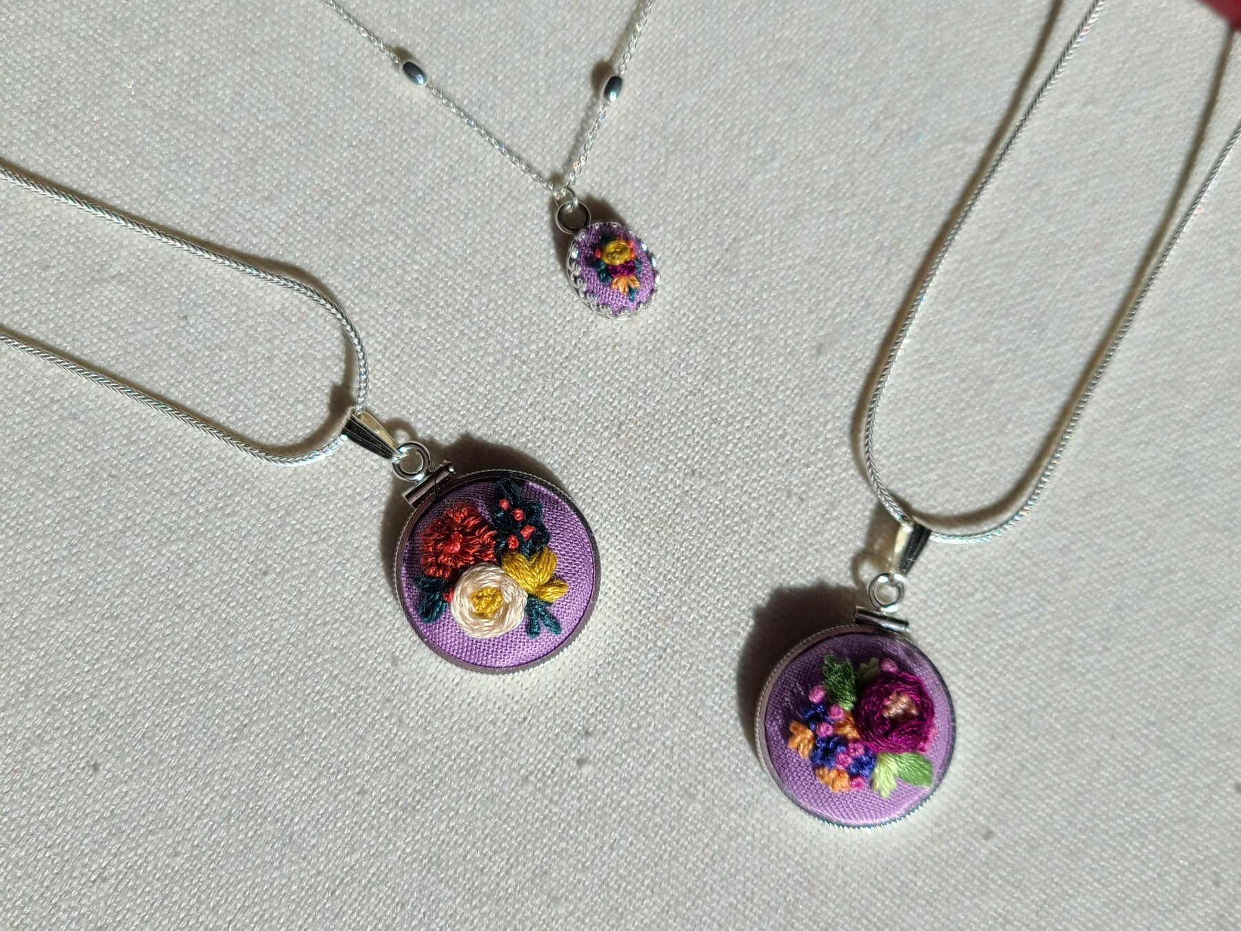 Yellow Rose, Orange Lily, and Magenta Blooms Mini Embroidery Sterling Silver Necklace - Little Love Parcels