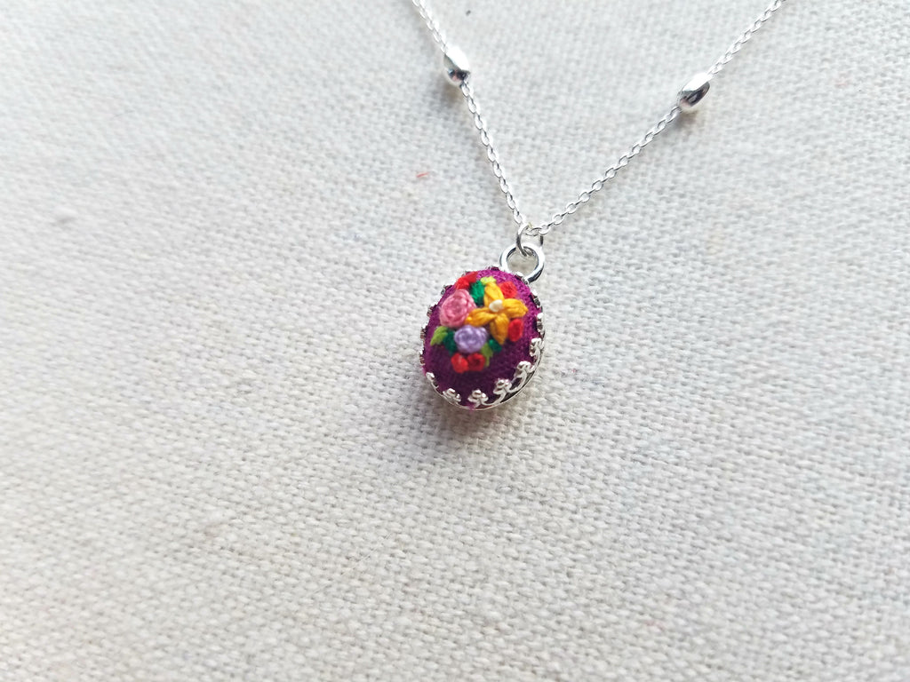 Orange Ixora Flower with Pink and Purple Roses on Magenta Mini Sterling Silver Necklace - Little Love Parcels