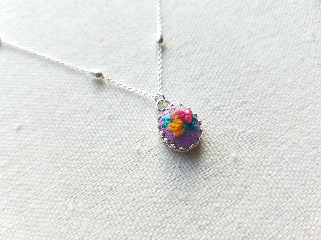 Pink Poppy and Yellow Daisy with Strawberry Quartz on Lavender Mini Sterling Silver Necklace - Little Love Parcels