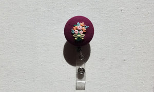 Pink Roses and Orange Lilies Bouquet on Deep Purple Retractable Badge Reel - Little Love Parcels
