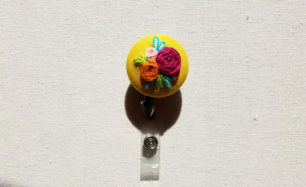 Spring Roses on Bright Yellow Hand Embroidered Retractable Badge Reel - Little Love Parcels