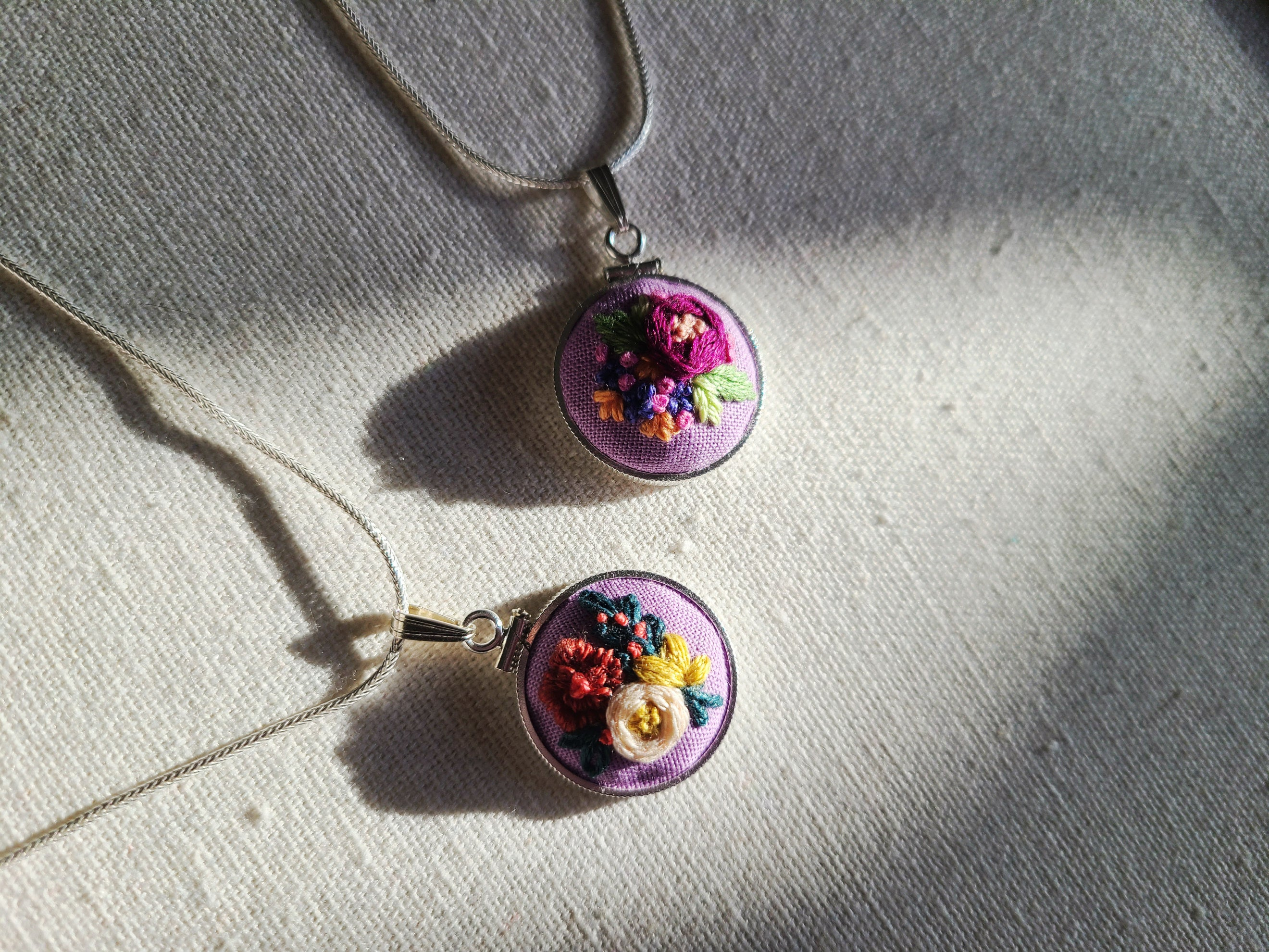 Magenta Peony with Indigo and Orange Flowers Hand Embroidered Sterling Silver Necklace - Little Love Parcels