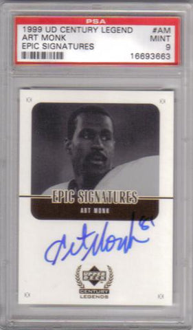 Autographed Football Cards Art Monk UD 1999 PSA9 Autographed Football Card