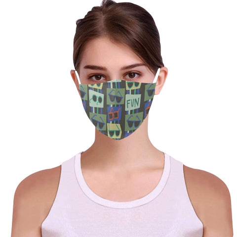 Image of facemask fun abstract synglasses 15 filters Cotton Fabric Dust Cover With Adjustable Strip(ModelM04)(15 PCS Filters Included) - Pitgnarf Shops
