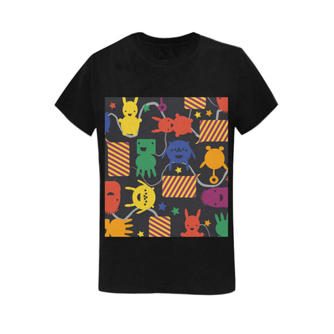 Image of Classic Women's 100% Cotton T shirt, Black with Bizarrel Design - Pitgnarf Shops