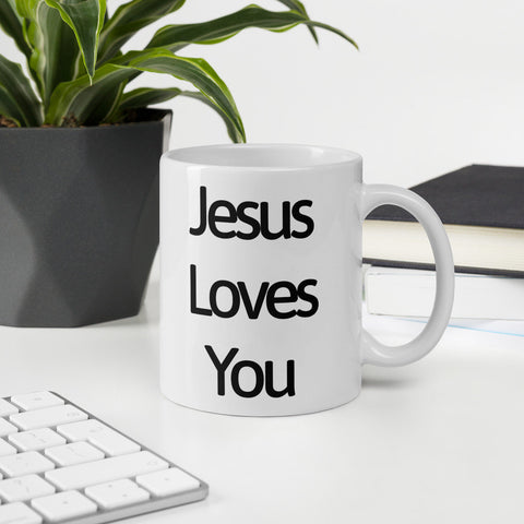 Image of Jesus Loves You - Glossy White Ceramic Coffee Mug