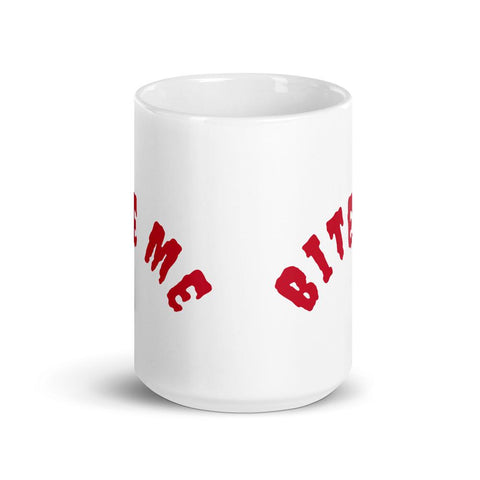 Image of White Ceramic Coffee Mug - Bite Me - Made in the USA