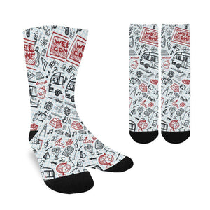 Women's Custom Socks - School Bus Design (Made In USA)
