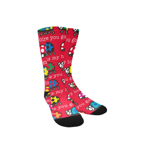 Image of Red Women's Colorful Classy Custom Socks (Made In USA)