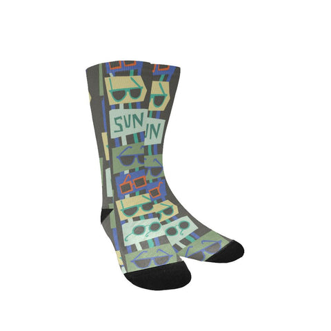 Image of Popular Women's Customized Socks, Sunglasses Design, Free Shipping