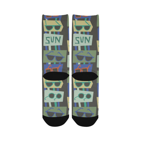 Popular Women's Customized Socks, Sunglasses Design, Free Shipping