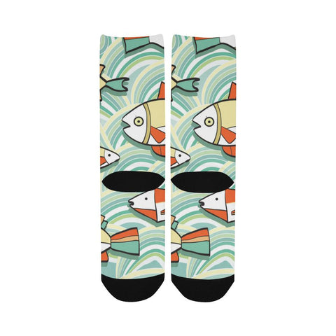 Image of Vivid Striped Fish Women's Custom Fashion Socks