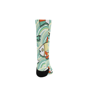 Vivid Striped Fish Women's Custom Fashion Socks