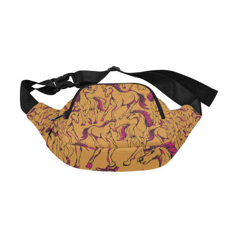 Image of Deluxe 2 Pocket Waist Bag Retro Horse Design