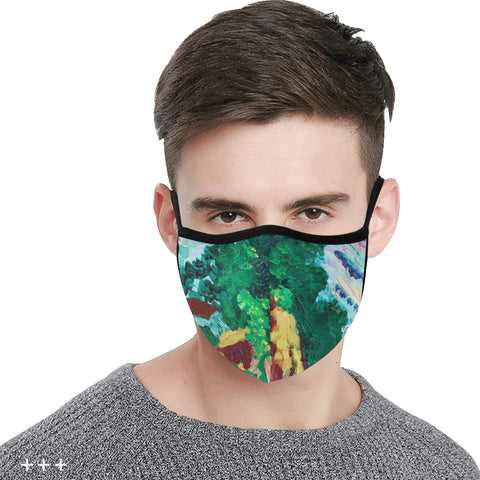 Image of Nature trees green house graffiti 1 Mask Cotton Fabric Dust Cover(ModelM03) - Pitgnarf Shops