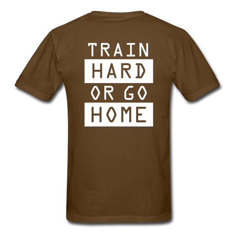 Train Hard T-shirt, Free Shipping, Fruit of the Loom - brown