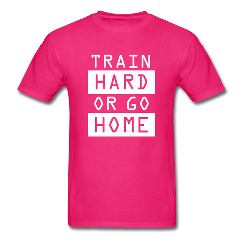Image of Train Hard T-shirt, Free Shipping, Fruit of the Loom - fuchsia