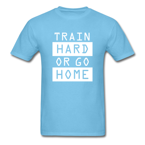 Image of Train Hard T-shirt, Free Shipping, Fruit of the Loom - aquatic blue