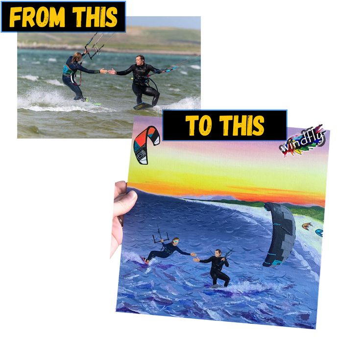 Personalised kitesurfing painting from photo (Hand painted)
