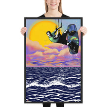 Load image into Gallery viewer, Patagonia Sunset Kitesurfer - Framed kitesurfing poster
