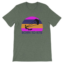 Load image into Gallery viewer, Born to Kite Electrosunset - 100% cotton Kitesurfing T-shirt