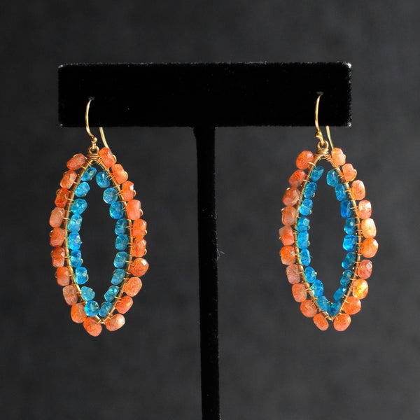 Small Marquise Earrings in Sunstone + Apatite