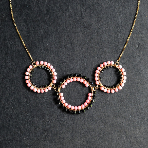 Triple Hoop Necklace in Black Spinel + Coral