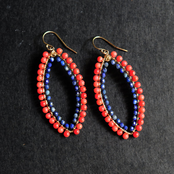 Large Marquise Earrings in Coral + Lapis