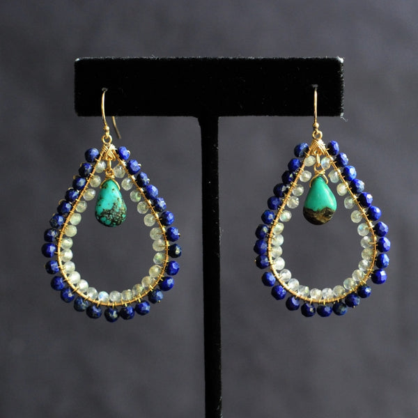 Large Tear Earrings in Lapis + Labradorite + Tuquoise