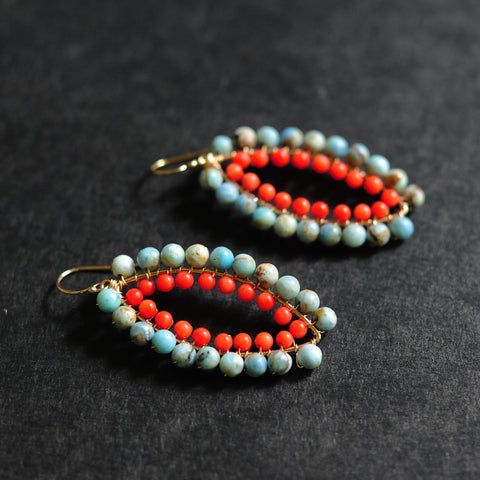 Small Marquise Earrings in Blue Opal + Coral