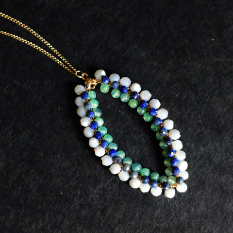 Small Marquise Necklace in Mother of Pearl + Lapis + Chrysoprase