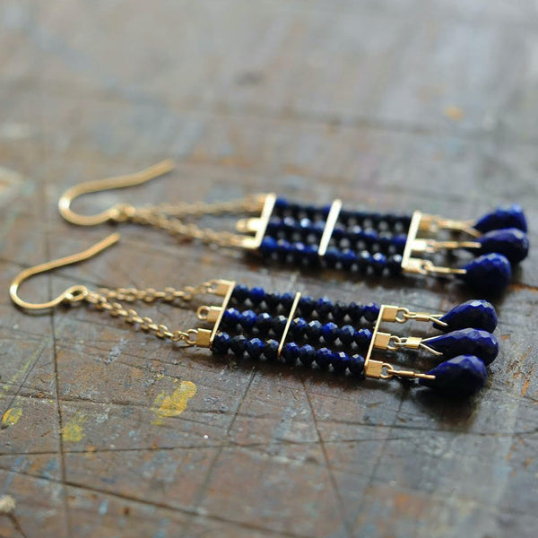 Abacus Earrings in Lapis