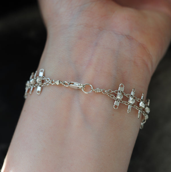 Sterling silver lobster clasp closure on the Artemis bracelet.
