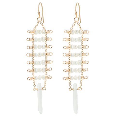 Artemis Crystal Point Earrings in Pearl