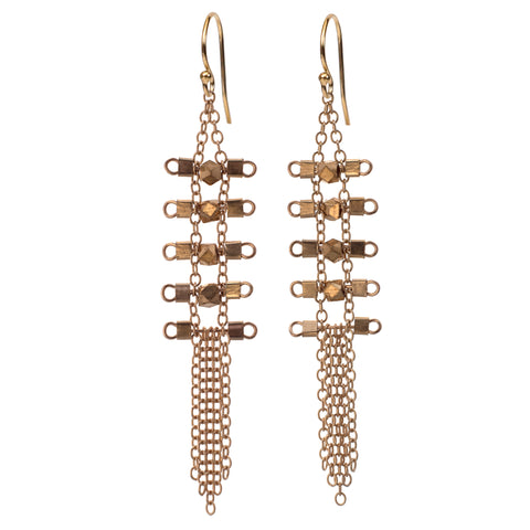 Artemis 5-Rung Earrings in Gold & Brass