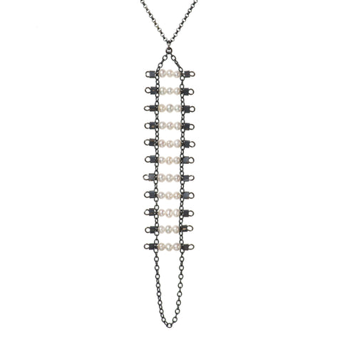 Artemis Necklace in Pearl & Black Silver